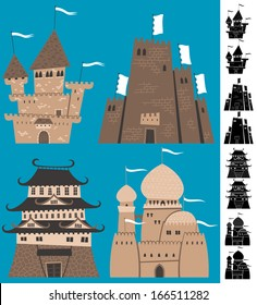 Cartoon Castles: Set of cartoon castles. Silhouette versions are also included. No transparency and gradients used.