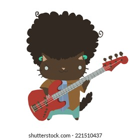 Cartoon casual little afro cat with guitar flat icon. The vector illustration for ui, web games, tablets, wallpapers, and patterns.