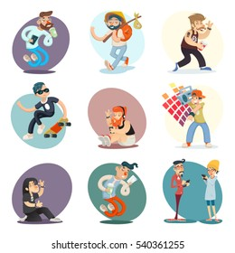 Cartoon Casual People Hipster Geek Goth Phone Coffie Characters Icon Set Design Retro Vector Illustration