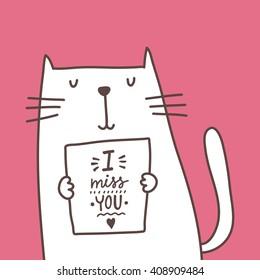 Cartoon cat card. I miss you