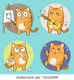 Cartoon Cat Character. Creative hobbies set. vector illustration
