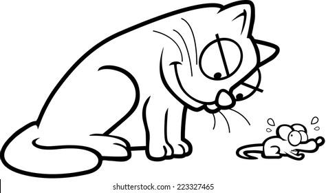 A cartoon cat chasing a cartoon mouse.