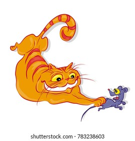 Cartoon cat chasing mouse