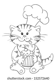 Cartoon cat chef with cupcake