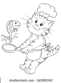 Cartoon cat chef prepares grilled fish