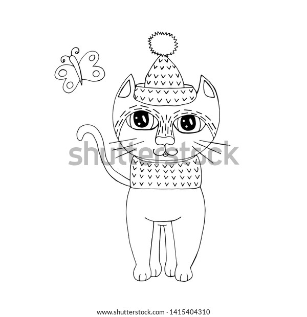 - Cartoon Cat Coloring Book Pages Sweet Stock Vector (Royalty Free) 1415404310