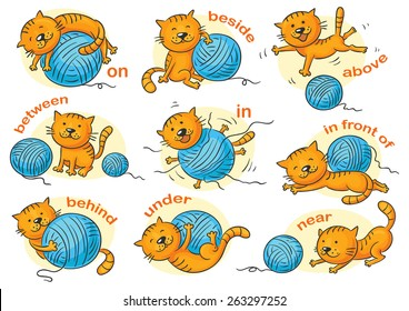Cartoon cat in different poses to illustrate the prepositions of place, no gradients