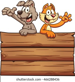 Cartoon cat and dog on a wooden sign. Vector clip art illustration with simple gradients. Cat, dog and sign on separate layer.