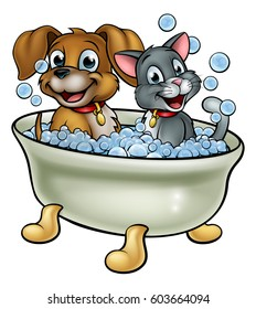 Cartoon cat and dog pets washing in the bath with bubbles