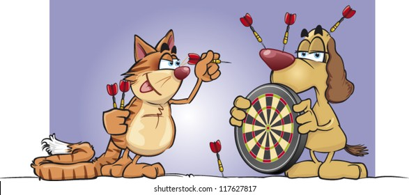 Cartoon cat and dog play darts