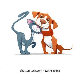 Cartoon Cat and Dog Playing Together Like Two Best Friends - Vector Illustration.