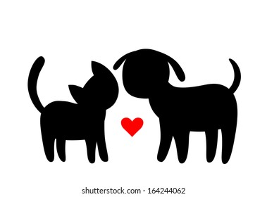 Cartoon cat and dog silhouettes