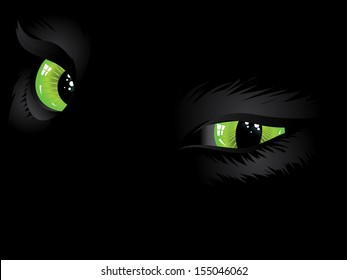 Cartoon cat eyes of green color on black background.