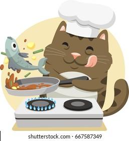 cartoon cat having fun cooking fish for dinner