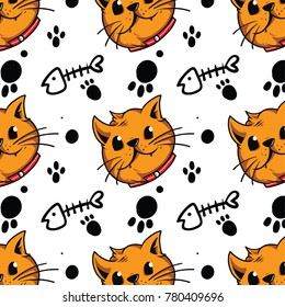 A cartoon cat head pattern, with doodle fish bones and paws