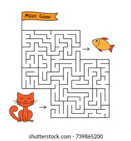 Cartoon cat maze game. Funny game for children education