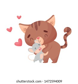 Cartoon cat and mouse hugging. Vector illustration on white background.