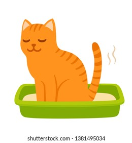 Cartoon cat pooping in litter box. Cute and funny kitty drawing. Pet life vector illustration.