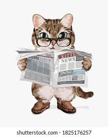cartoon cat reading newspaper illustration