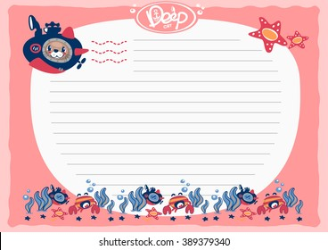 Cartoon a cat in a submarine with crab under deep water and sample text. paper note illustration vector.