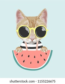 cartoon cat in sun glasses with watermelon illustration