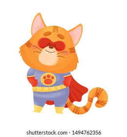 Cartoon cat superhero holds his hands on his belt. Vector illustration on a white background.