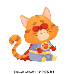 Cartoon cat superhero with a red cloak sits. Vector illustration on a white background.