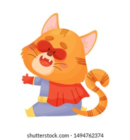 Cartoon cat superhero with a red cloak sits. View from the back. Vector illustration on a white background.