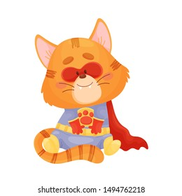 Cartoon cat superhero sits. Vector illustration on a white background.