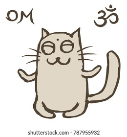 Cartoon cat Tik sits immersed in nirvana. Om sign and symbol. Vector illustration
