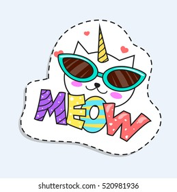 Cartoon Cat Unicorn in the Glasses Sticker.Vector illustrations for app or your design.Vector illustration isolated on white background