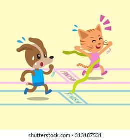 Cartoon cat winning a race with dog