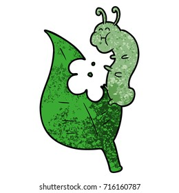 cartoon caterpillar munching leaf