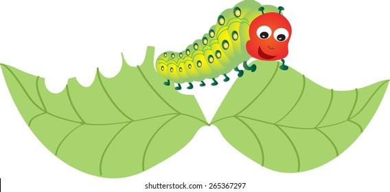 A cartoon caterpillar munching on a leaf