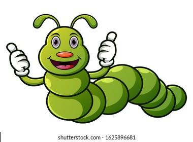 Cartoon caterpillar with thumbs up