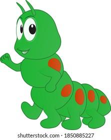 cartoon of a caterpillar walking happy