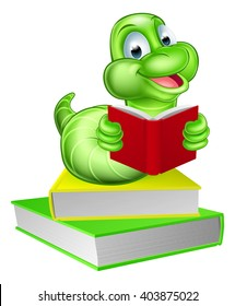 A cartoon caterpillar worm bookworm reading a book and sitting on a pile of books