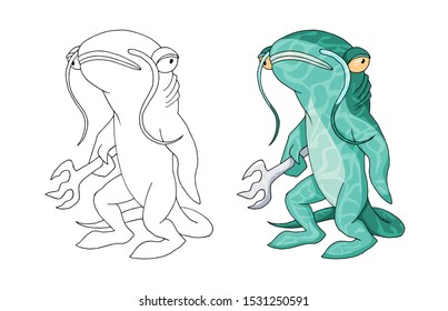 Cartoon catfish monster sea creature character. Vector clip art illustration. Hand drawn Element isolated on white. Coloring book page design for kids and children, sticker or game asset