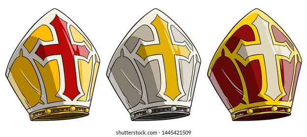 Cartoon catholic bishop mitre with cross. Pope crown hat. Isolated on white background. Vector icon set.
