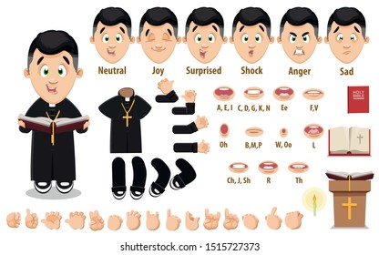 Cartoon catholic priest constructor for animation. Parts of body: legs, arms, face emotions, hands gestures, lips sync. Full length, front, three quater view. Set of ready to use poses, objects.