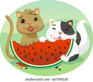 cartoon cats eating watermelon illustration