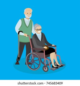 Cartoon caucasian Grandpa with a cane and grandmother in a wheelchair,couple of old people,vector illustration