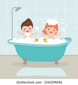 Cartoon caucasian small kids takes a bath together. Happy children sits in bathtub with soap bubbles. Cute preschooler characters in bathroom. Interior with furniture. Flat vector illustration