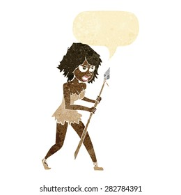 cartoon cave girl with speech bubble