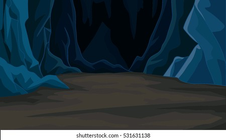 cartoon cave landscape vector
