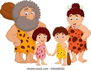 Cartoon caveman family isolate on white background