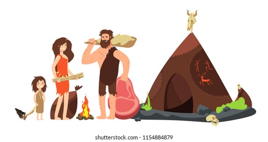 Cartoon caveman family. Prehistoric neanderthal hunters and kids. Ancient homo sapiens vector illustration. Family neanderthal, barbarian cavewoman