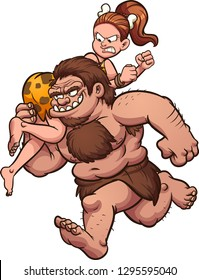 Cartoon caveman kidnapping cavewoman. Vector clip art illustration with simple gradients. All in a single layer.