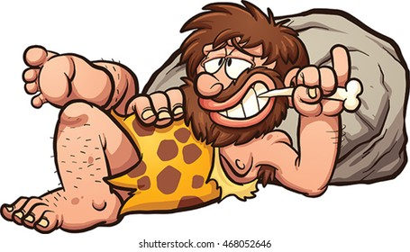 Cartoon caveman resting after a meal. Vector clip art illustration with simple gradients. Caveman and rock on separate layers.