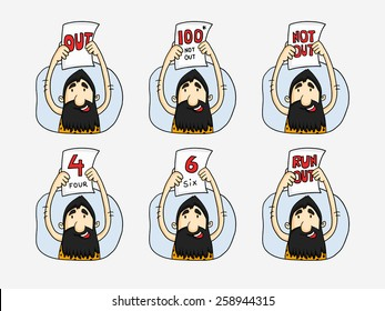 Cartoon of caveman showing cricket symbol of out, not out, run out, sixer, four run and 100 run with not out.